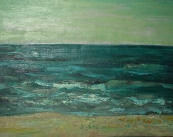 Vintage oil painting impressionist seascape signed