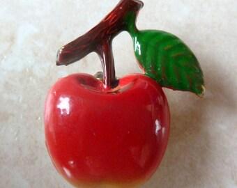 Vintage Dainty Enamel Red Apple Fruit Brooch.