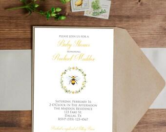 SALE 25% OFF Custom Bee Invitation - Baby Shower - Birthday - Bridal Shower - Retirement - Wedding