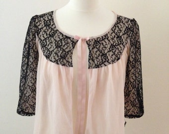 Black and Pink Lace Shrug 1970's