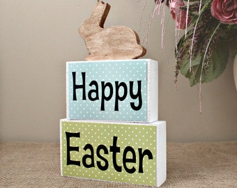 Easter hostess gift etsy easter decor sign happy easter wood blocks easter decoration easter home decor blocks negle Images