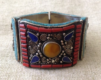 Vintage Turquoise Coral Lapis Lazuli  Yellow Sapphire MultiStone Cuff Bracelet