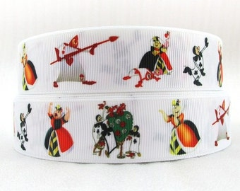 Alice In Wonderland Queen of Hearts Ribbon  - Cake Decorating Crafts Hair Bow Wrapping New 1 Metre LB48