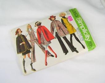 Vintage Sewing Pattern -  1969 Simplicity 8353 Size 14 Bust 36 Cape Vest Skirt Pants UNCUT