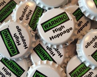 50 WARNING High Hoppage oxygen barrier bottle caps - homebrew, homebrewed, homebrewing, hombrews, magnet, necklace, earring, hop, hops, IPA
