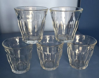 5 Duralex Glasses Espresso Coffee Cups. Water Glasses. Tumblers. Picardie Glasses. French Kitchen. Retro Kitchen.