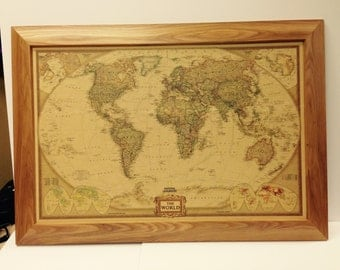 Antique world map picture framed 33x23 (14)