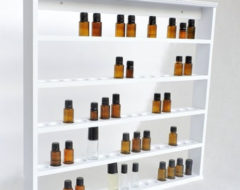 Essential Oil Hanging Wooden Shelf, Case, Holds 60 bottles