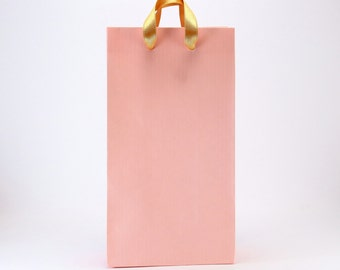 15 SMALL Pink Paper Favor Bags w/ GOLD Handles - Party Gift Bags - Wedding Favors - Bridal Shower - Baby Shower Party Bags