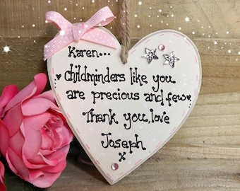 Handmade personalised Childminder/Nanny gift Plaque Heart Handmade