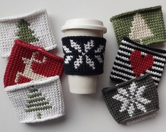 Crochet Pattern - Linden Coffee Cozy/Sleeve by Lakeside Loops (includes 12 original silhouettes + alphabet)