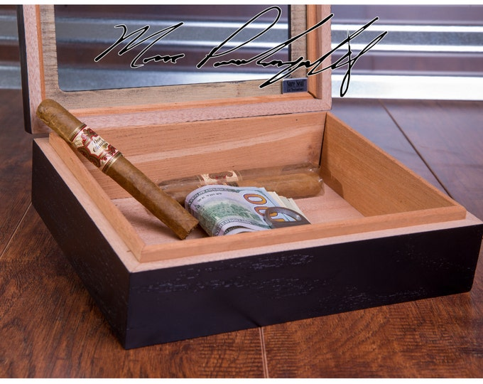 Fathers Day Cigar Box, Dad Cigar Humidor, Personalized Cigar Box, Cigar Storage, Glass Top, Groomsmen Best Man Gift, Engraved, Mens Man Gift