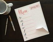 Menu Planning Notepad with magnet, Grocery List, Menu Planning