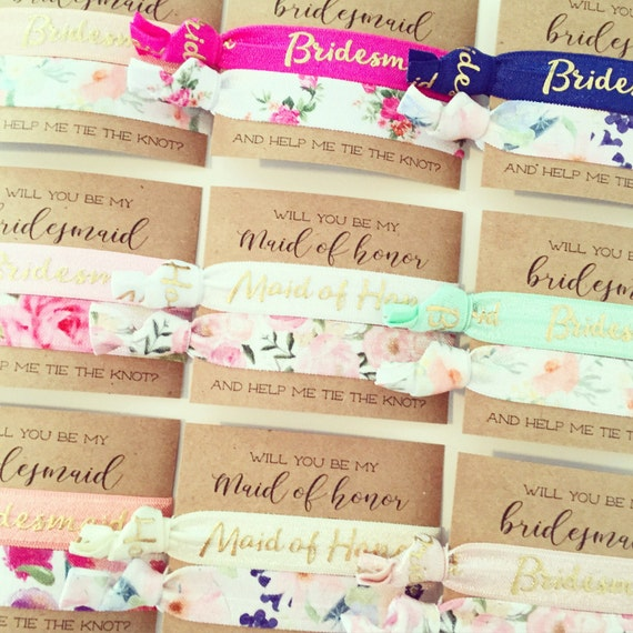 Will You Be My Bridesmaid & Maid of Honor Hair Tie Gifts | Bridesmaid Proposal, Vintage Floral Hair Tie Bridesmaid Gift, Proposal Card Gift