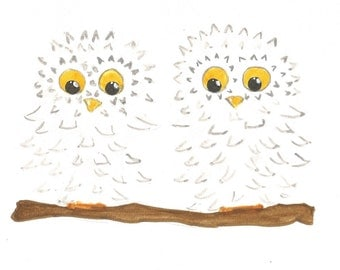 Two Snowy Owls children's watercolour wall art