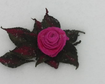 Felted Flower, Hand Felted Brooch, Wool Jewelry felted brooch -red rose flower