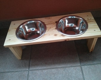 Wooden Elevated Pet Feeder - Two Raised Bowls