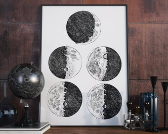 Galileo's Sketches of the Moon - Sidereus Nuncius - 1610 - Science Print - Vintage Science Art - Science Gift - Astronomy Student gift idea