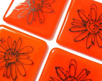 Orange flower coaster, fused glass square design,bar drinks coaster, hostess gift, CO408, Summer long cocktail  beer mat, house warming gift