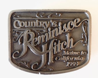 Vintage Country's Reminisce Hitch Pewter Belt Buckle 1993 Maine to California Road Trip