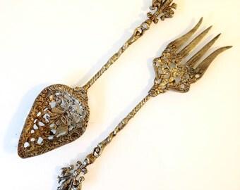 Vintage Italian Pierced Brass Fork and Spoon Salad Servers Renaissance Horses