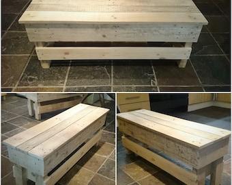 Rustic Repurposed Upcycled Pallet Outdoor Garden Bench