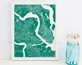 Charleston Map Art Charleston Print Charleston Art Print Charleston Poster Charleston Printable Charleston City Art South Carolina Art