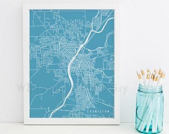 Hamilton Map Hamilton Art Hamilton Map Art Hamilton Print Hamilton Printable Hamilton City Art Hamilton City Map Ohio Art