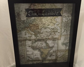 11x14 World Map Travel Keepsake, Ticket Stub or Souvenir Shadow Box to Display Memories from Road Trips, Vacations, etc. (Our Adventure)