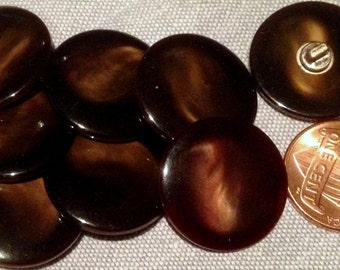 "8 Beautiful Brown Shiny Plastic Shank Buttons 13/16"" 21mm # 7547"