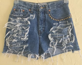 Distressed and Studded High Waist Shorts
