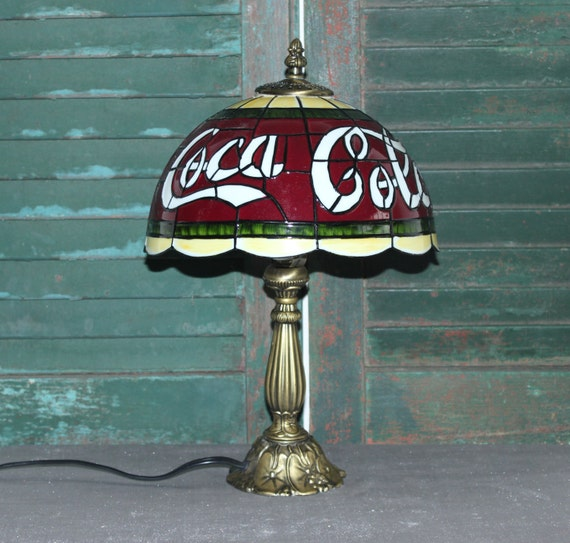 Coca Cola Tiffany Stained Glass Style Table Lamp By