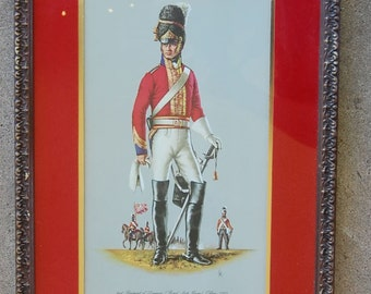 2-Unique Turner Wall Accessory - One Pair of Scottish Military art Framed Glass