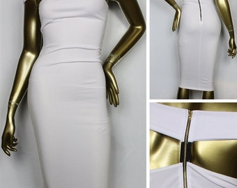 White Banded Bodycon Dress
