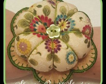 Flower Wrist Pin Cushion - Ornate Sage Floral Burst