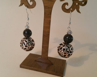 Black and antique silver drop earrings