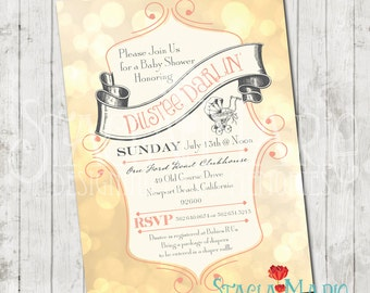 its a girl vintage baby carriage baby shower invite 1 40