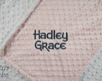 Personalized Baby Blanket, Minky Blanket, Personalized Name Blanket, Baby Pink Blanket, White Blanket, Choose Your Colors, Choose Your Size