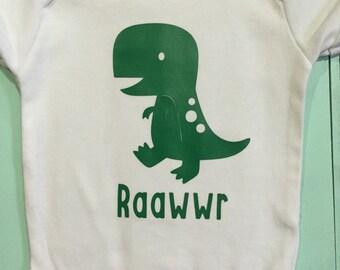T-Rex Baby bodysuit/ Dinosaur baby onesie