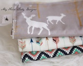 Deer and Arrow and Aztec Burp Cloths for Baby, Modern and Hipster, Set of Three
