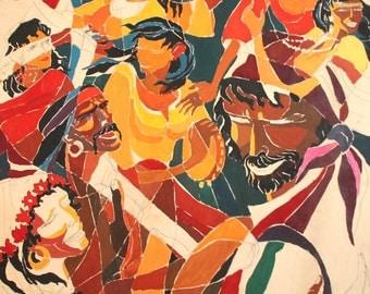 Vintage Modernist Portrait Gouache Painting Gipsy Dancers