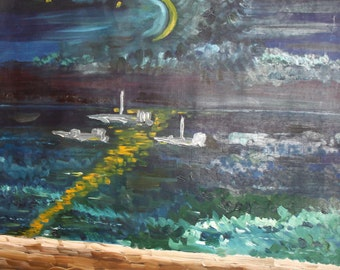 1994 Expressionist Seascape Oil Painting Signed