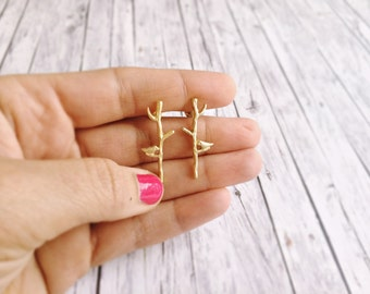 Stick earrings - gold Love birds on the tree branch