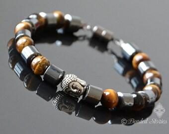 Men's bracelet Stackable bracelet Healing crystal bracelet Hematite & Tigers Eye Buddha bracelet Energy bracelet Men's Jewelry Gift for men