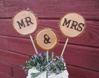 Mr and Mrs rustic cake topper, rustic wedding cake topper, cake topper, wedding cake topper, rustic wedding decor, mr and mrs topper