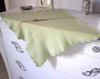 Spring Garden, newborn baby blanket, handmade, knit and crochet, neutral colors, cotton/viscose yarn, Vegan,spring/summer,Handmade in Italy!