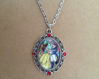 Handmade stained glass beauty and the beast necklace, beauty and the beast necklace