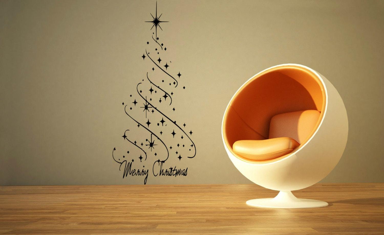 Large Christmas Star Christmas Tree Wall Art Decal Mural Sticker ...