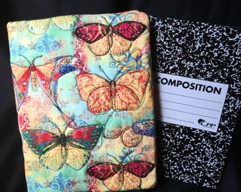 Large Quilted Journal cover, Butterflies notebook, Quilted cloth book, Quilted art journal cover, quilted notebook art, Butterflies  #3