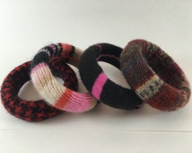 BANGLE BRACELET covered with cotton or felted wool from recycled sweaters